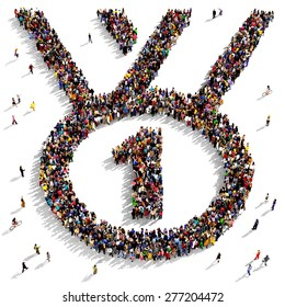 Large group of people seen from above gathered together in the shape of first place award icon