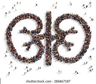 Large group of people seen from above gathered together in the shape of kidneys