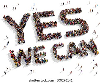 "Large group of people seen from above gathered together to form the text ""YES WE CAN"" on a white background"