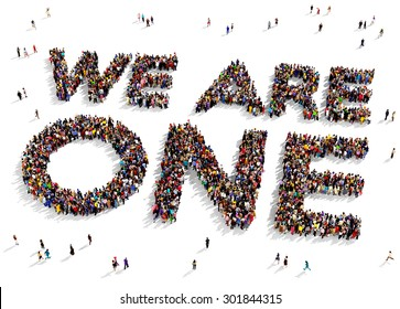 "Large group of people seen from above gathered together to form the text ""WE ARE ONE"" on a white background"