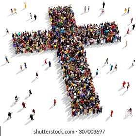 Large group of people seen from above gathered together in the shape of  a cross, on white background