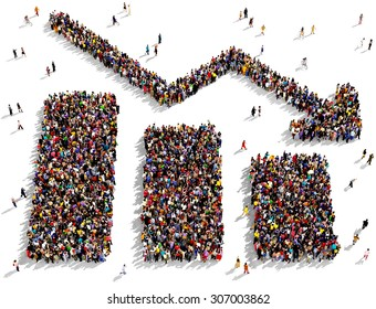 Large group of people seen from above gathered together in the shape of  bar graph down symbol