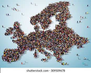 Large group of people seen from above gathered together around the shape of Europe map on blue background