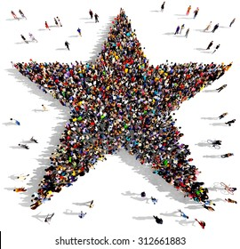 Large group of people seen from above gathered together in the shape of a five pointed star
