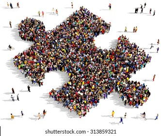Large group of people seen from above gathered together in the shape of piece of puzzle