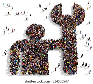 Large group of people seen from above gathered together in the shape of a fixing man symbol