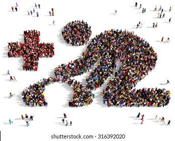 Large group of people seen from above gathered together in the shape of first aid symbol