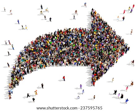 Large group of people seen from above gathered together in the shape of an arrow