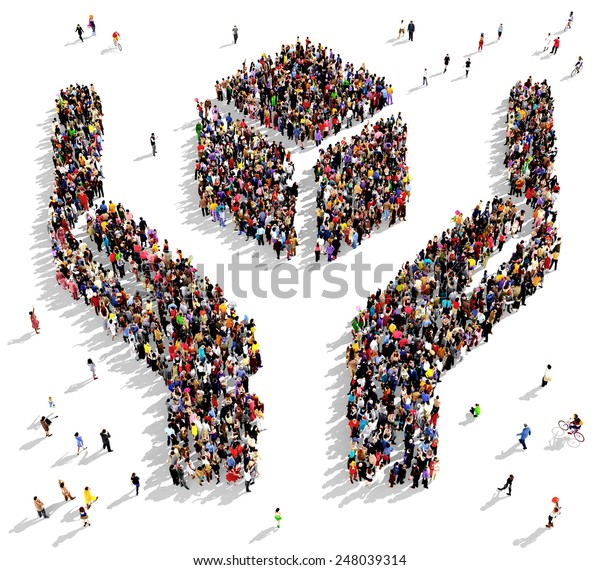 Large group of people seen from above gathered in the shape of two hands holding an abstract object