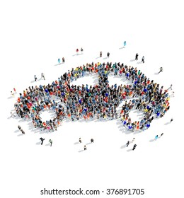 Large group of people in the shape of the car. Isolated, white background.