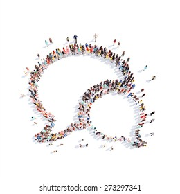 Large group of people in the shape of a chat bubble.White background
