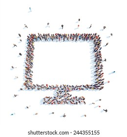 Large group of people in the shape  of a monitor. Flashmob, isolated, white background.