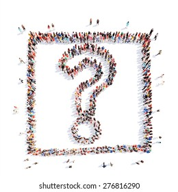 A large group of people in the shape of a question mark. Isolated. White background.