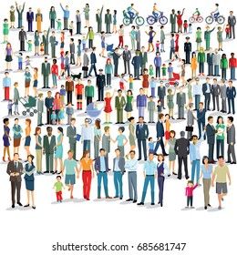 Large group of people standing together, 3D illustration