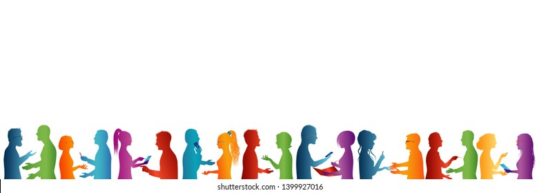 Large group of people talking. Seminar or conference concept. Education and training management development association. Team of career students. Multicolored profile silhouette