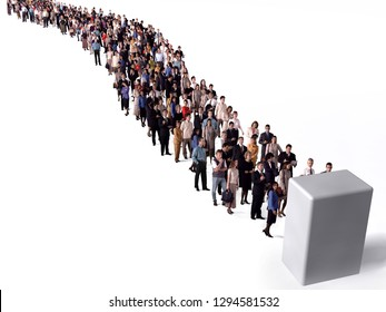 large group of people waiting in line, 3d illustration
