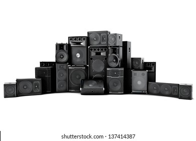 Large group of speakers in a row, loud or abused concept on a white background.