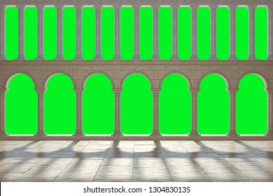Large hall, with a colonnade in two tiers. Walls with columns in two floors, isolated on a green background. The two-tiered colonnade in the antique style. 3D Illustration