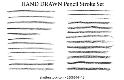 Large hand drawn set of long black and white brush strokes isolated on white. Black thin long Charcoal stroke and long wide traces of oil pastel. Raster stock illustration with a collection of brush