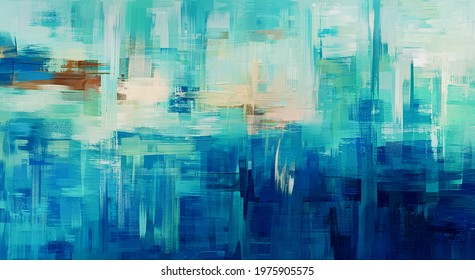 Large hand painted azure sea coast colours abstract wall art, modern painting. Blue and teal background made with rough brush strokes. Oil on canvas artwork. Above bed tapestry print
