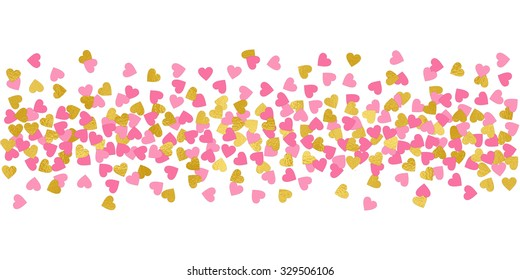 Large Hearts Pink And Gold Confetti Border Illustration Bright Sparkle Design Element For Tags