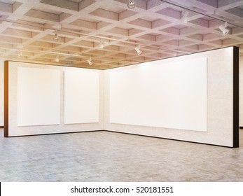 Large horizontal poster and two smaller vertical posters are hanging on gray wall in art gallery. Concept of marketing and product placement. 3d rendering. Mock up. Toned image
