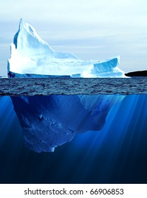 A large iceberg in the cold blue cold water. Collage