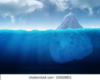 A large iceberg floating in water