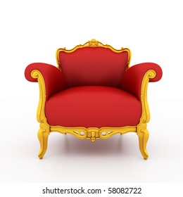 Large image Resolution of Classic glossy red armchair with golden details, isolated on a white background