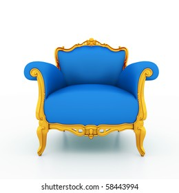 Large image Resolution of Classic glossy blue armchair with golden details, isolated on a white background