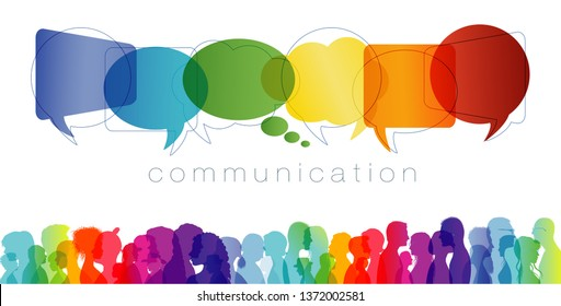 Large isolated group people in profile talking silhouette. Speech bubble. Concept to communicate. Crowd speaks. Social networking. Multi-ethnic people dialogue. Clouds rainbow colors. Talk