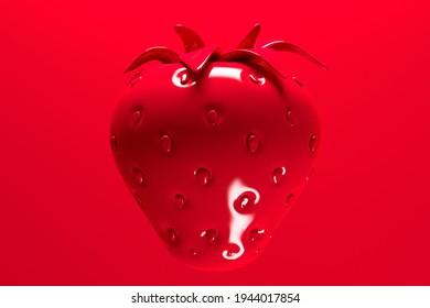 Grande fraise juteuse sur fond rouge avec place pour texte et éclairage en studio clair. Rendu 3d