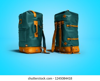 Large leather blue backpack for tourist trips 3d render on blue background with shadow