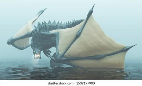 Large Legendary Horned Winged Black Dragon with Glowing Eyes and Breathing Smoke and Embers Over Water on a Foggy Day Front View 3d Illustration 3d Rendering