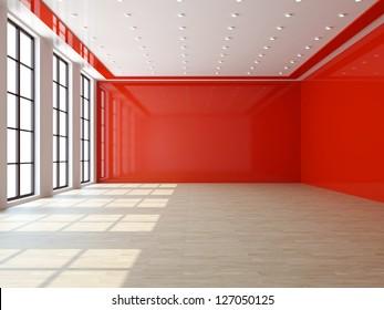 A large livingroom with a big windows