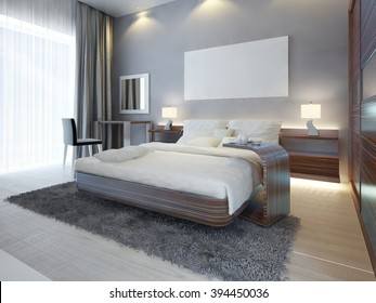 Large luxury bedroom in Contemporary style white, brown and gray colors. A large bed with a side table and a dressing table with a mirror and a chair. 3D render.