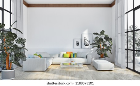 large luxury modern bright interiors apartment Living room 3D rendering illustration computer generated image