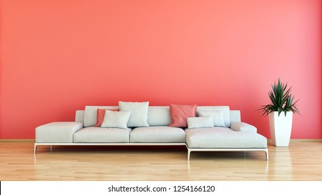 large luxury modern bright interiors room pink coral illustration 3D rendering computer generated image not photos and not private property