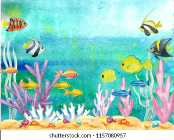 Large marine collection, life under water. Qualitative watercolor hand-drawn marine fish, coral reefs, seaweed, sand, sea day. Perfect for inscriptions, postcards, presentations, summer letters