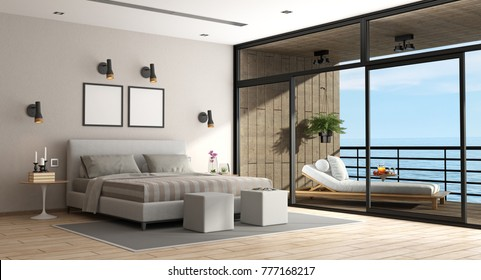 Large master bedroom of an holiday villa with chaise lounge on balcony - 3d rendering