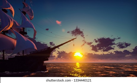 Large medieval ship on the sea on a sunrise. The old medieval ship gracefully sails in the open sea. 3D Rendering