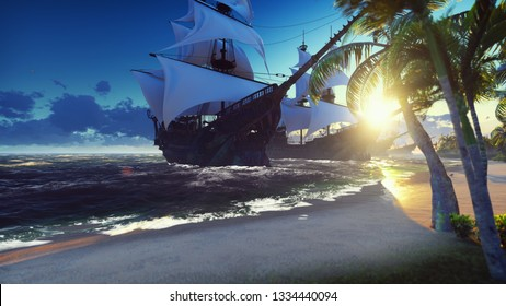 A large medieval ships at sea at sunrise. An ancient medieval ships moored near a desert tropical island. 3D Rendering