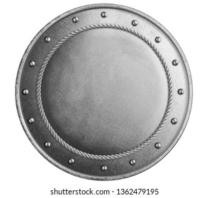 Large metal round shield isolated 3d illustration