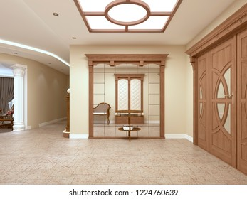 A large mirror with a table for keys in the foyer of a luxurious interior. 3D rendering