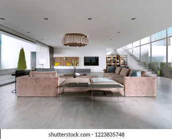 Large modern living room open space in a modern style. 3D rendering