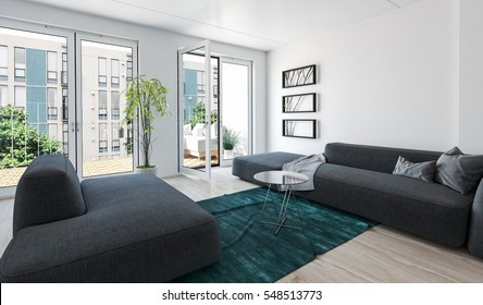 Large modern luxury condo living room interior with grey upholstered couches and glass doors leading to an outdoor patio overlooking apartment blocks. 3d Rendering