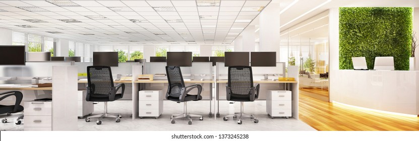 Large modern office interior with reception. 3d rendering