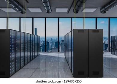 large modern server room with skyline view large windows, 3D Illustration