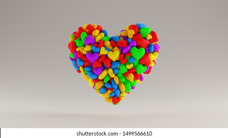 Large Multi Colored 3d Heart Icon Made out of lots of Small Hearts 3d illustration 3d render