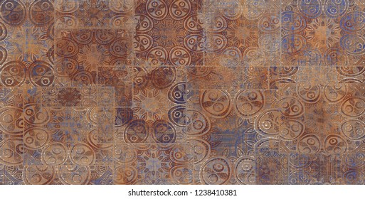 large Multicolor Digital Wall Tile Decor on Brown Colored Marble, Abstract Wall Tile Design For Home, wallpaper, linoleum, textile, web page background.